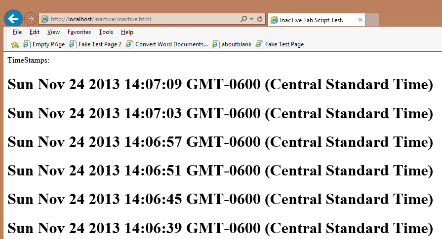 show What Sort of Content TimeStamp page would generate.