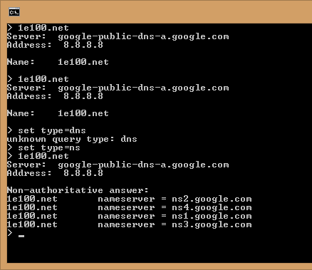 suing nslookup you can clearly see that google nameservers ns2.google.com, ns4.google.com, ... handle the DNS lookup settings for domain 1e100.net