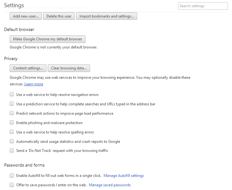 Google chrome Privacy settings all optional webservice calls disabled.