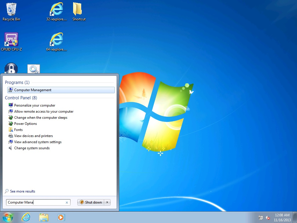 Bringing up Computer Management under Windows 7