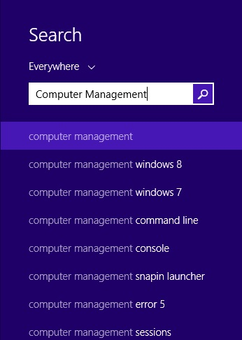 Windows 8.1 Searching for Computer Management brings up no relevant Results