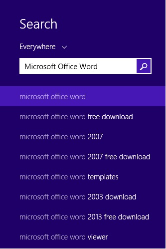 Typing Microsoft Office or Microsoft Office Word does not show the right program.