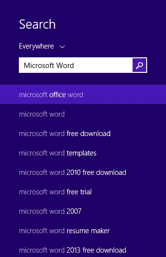 Typing Microsoft Word does not bring up the expected result on Windows 8.1
