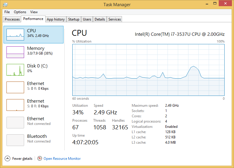 Windows 8 Task Manager Showing your CPU Hardware Specs to you